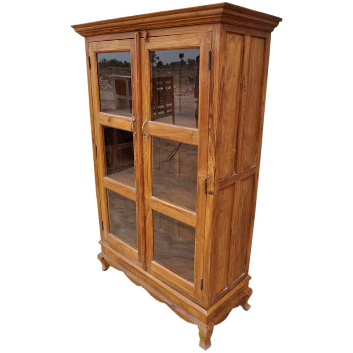 Inglis Solid Wood Glass Door Freestanding Bookcase