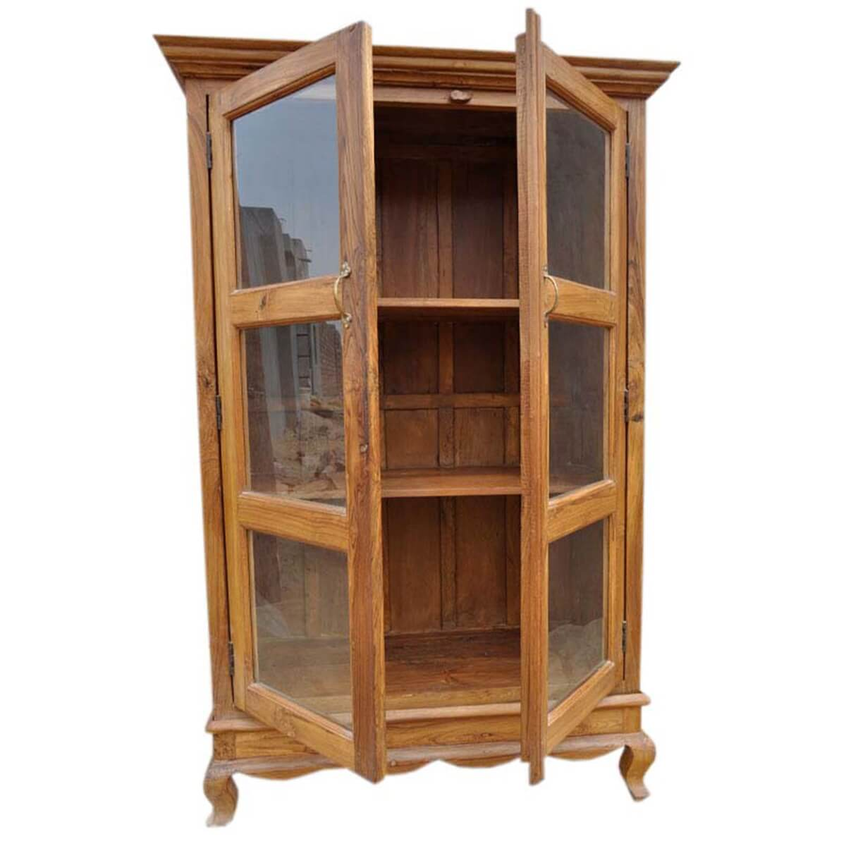 Inglis solid wood glass door freestanding bookcase for Wood bookcase with doors