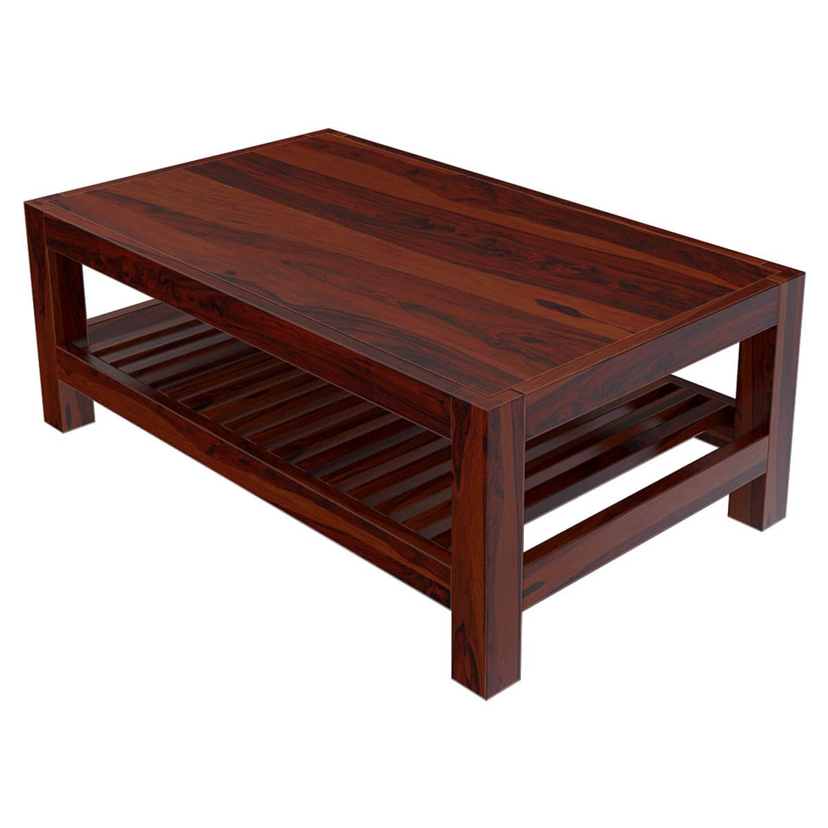Modern Wood Coffee Table: Solid Wood Portland Contemporary 2 Tier Coffee Table