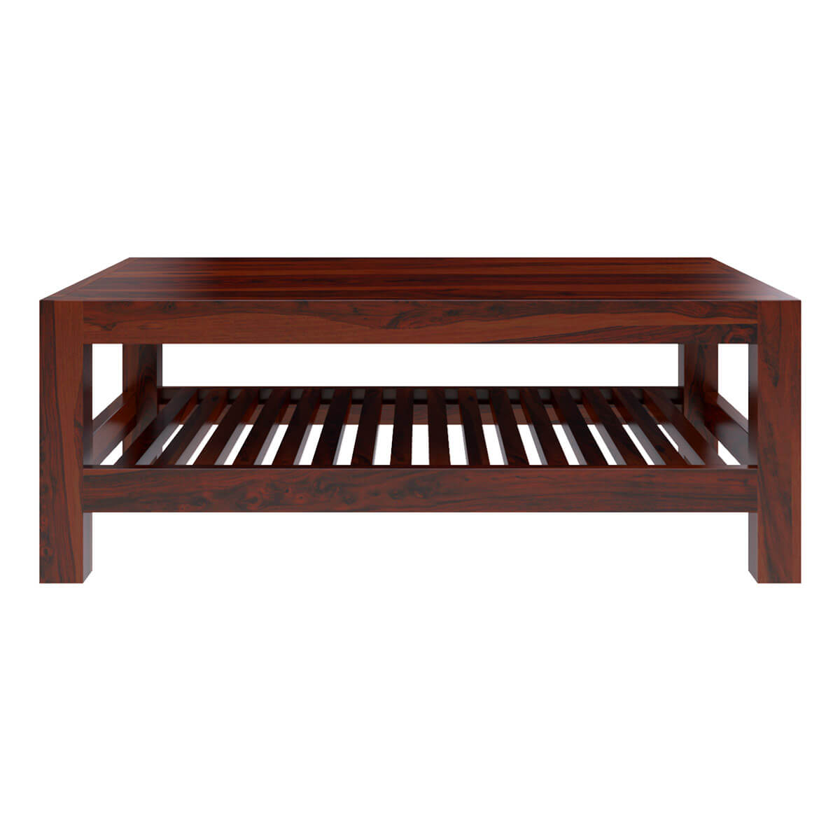 Solid wood portland contemporary 2 tier coffee table for Solid wood coffee table