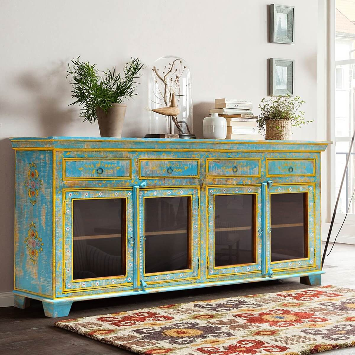 Oklahoma farmhouse distressed painted glass door sideboard for Painted buffet sideboard