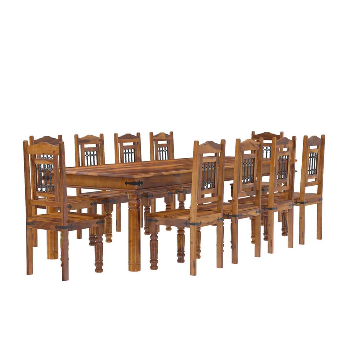 San francisco rustic furniture large dining table with 10 for Wood dining table set