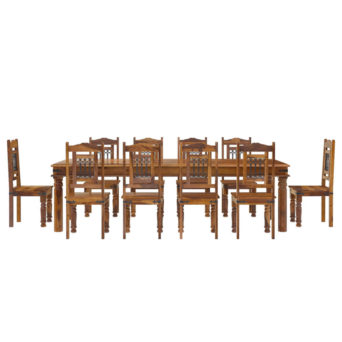 sellers rustic solid wood large dining room table chair set furniture
