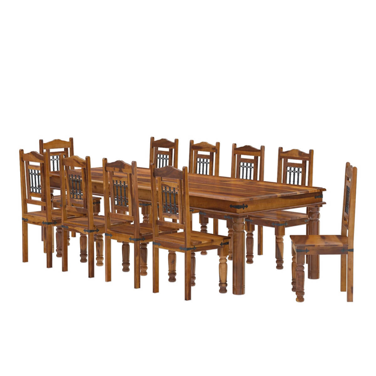 rustic solid wood large dining room table chair set furniture