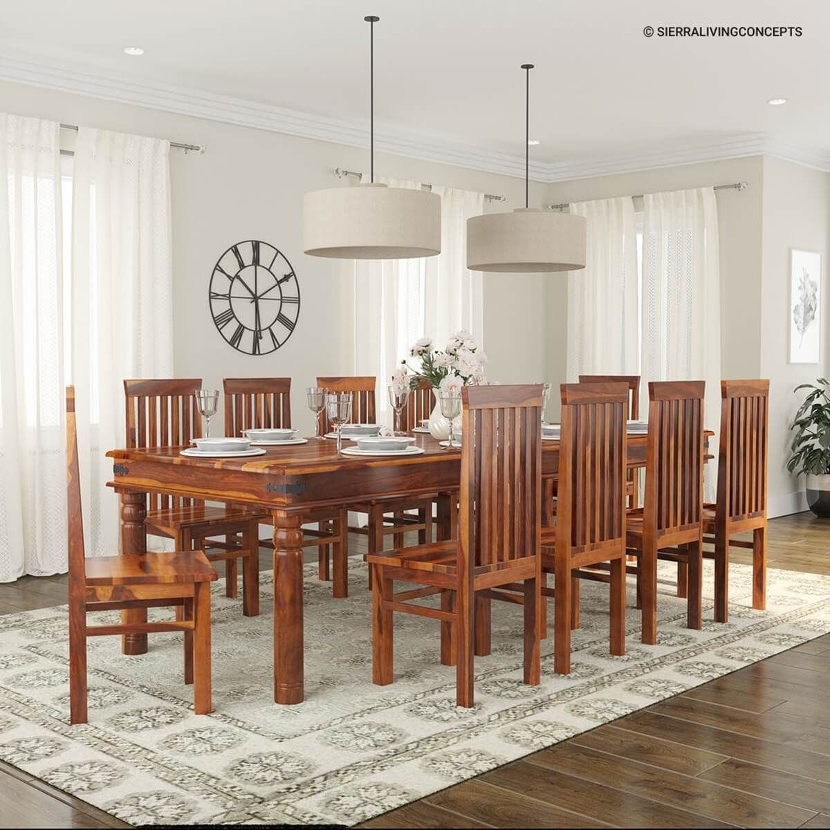 Rustic lincoln study large dining room table chair set for for Dinner table wood