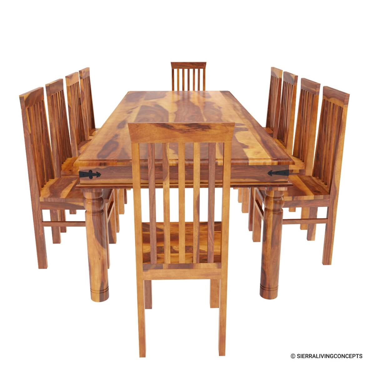 Rustic lincoln study large dining room table chair set for for Rustic dining room table