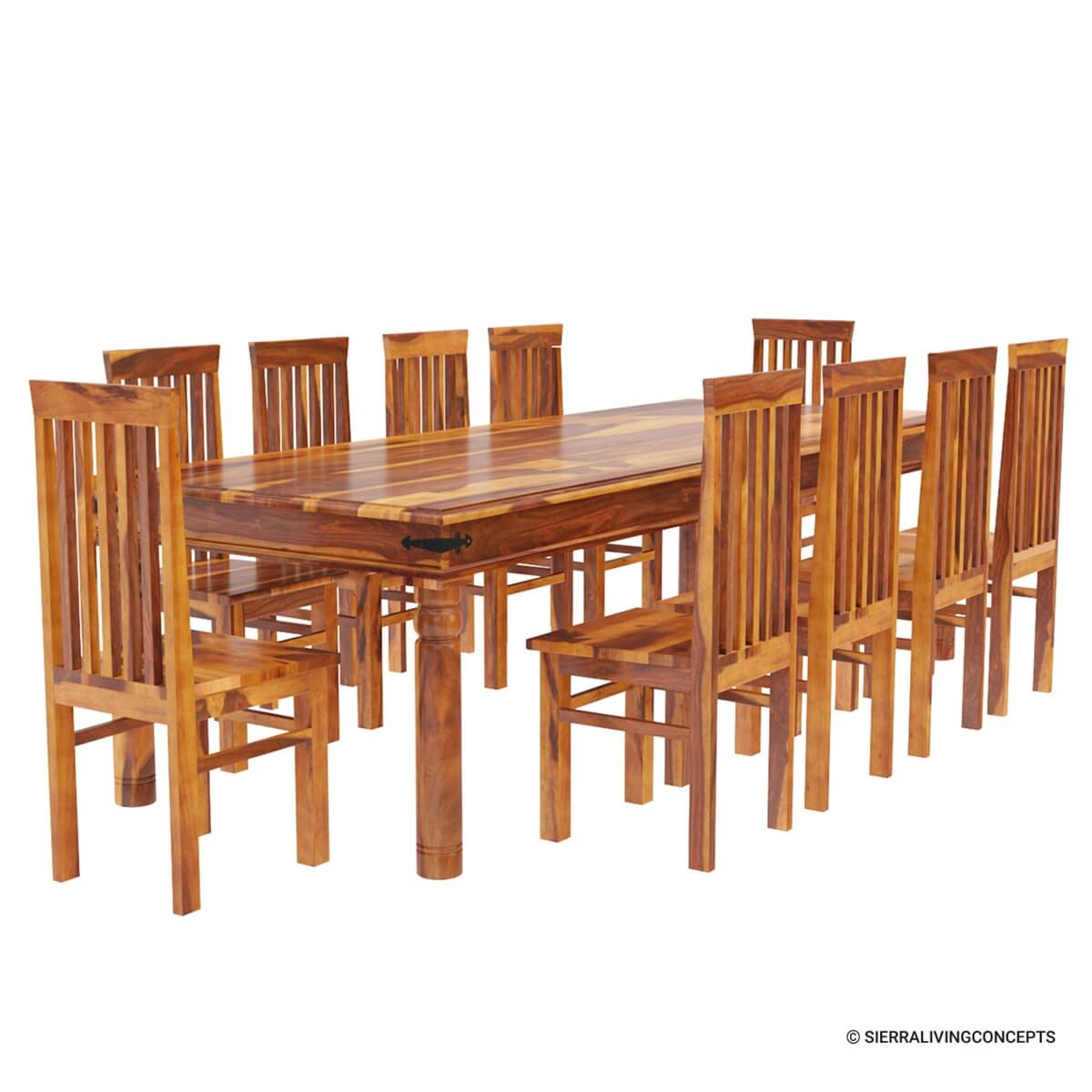 Rustic lincoln study large dining room table chair set for for Large dining room table