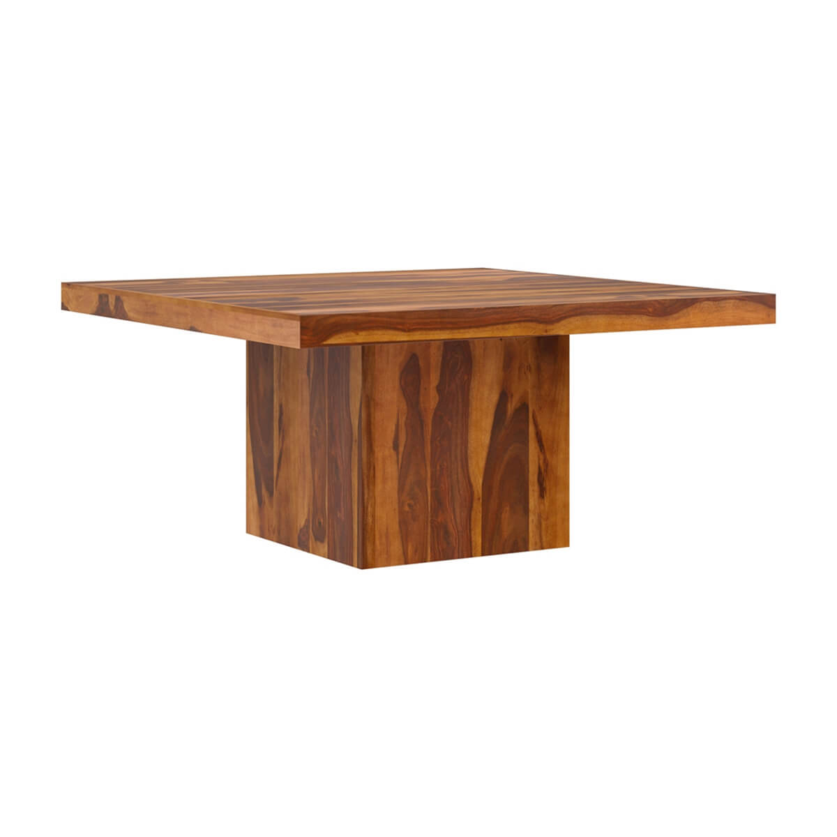 Solid Wood Modern Rustic Block Pedestal Square Dining Table For 8