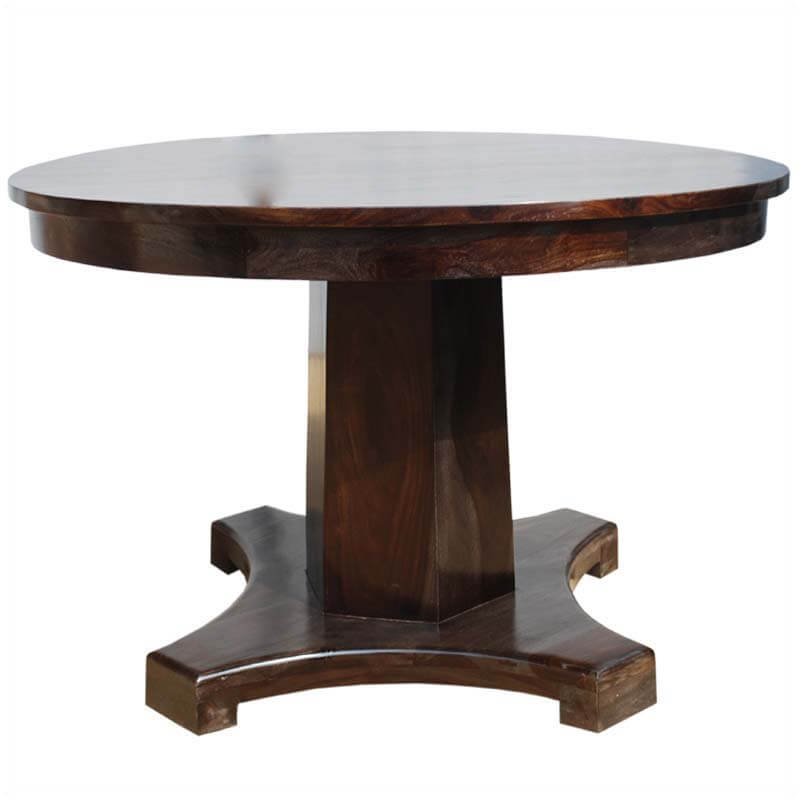 Solid wood sutton rustic round pedestal dining table for 4 for Solid wood round dining room table