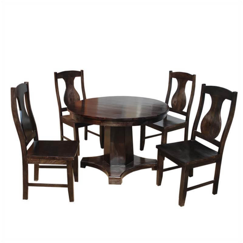 Tables Solid Wood Sutton Rustic Round Pedestal Dining Table For 4