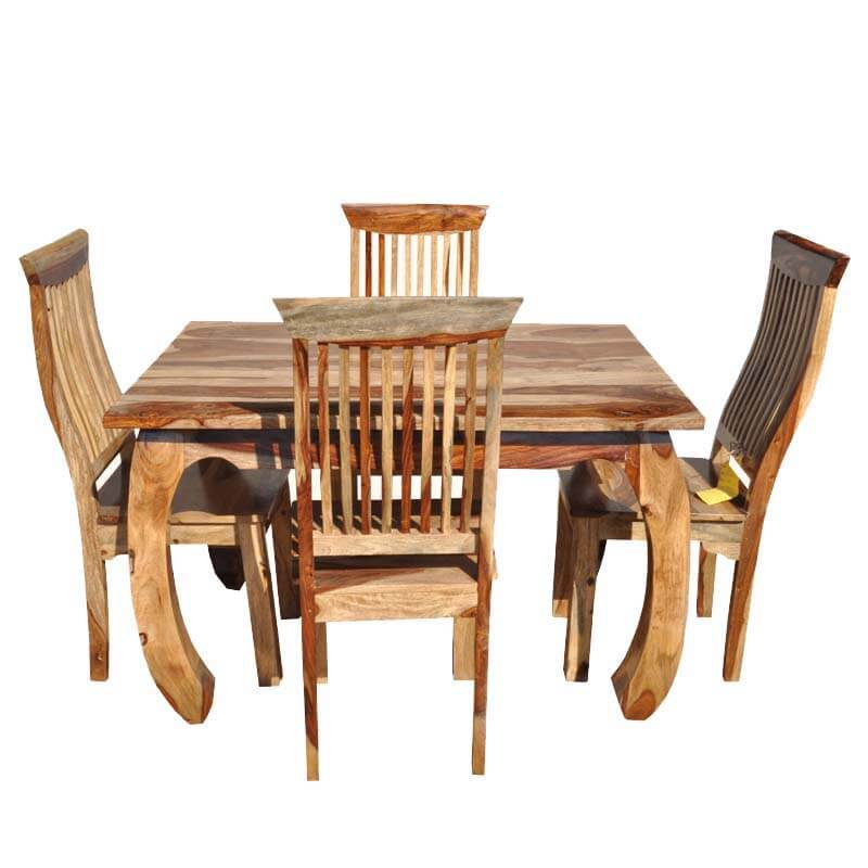 Mediterranean Style Dining Room Sets: Mediterranean Rustic Bow Legged 5pc Dining Table Set