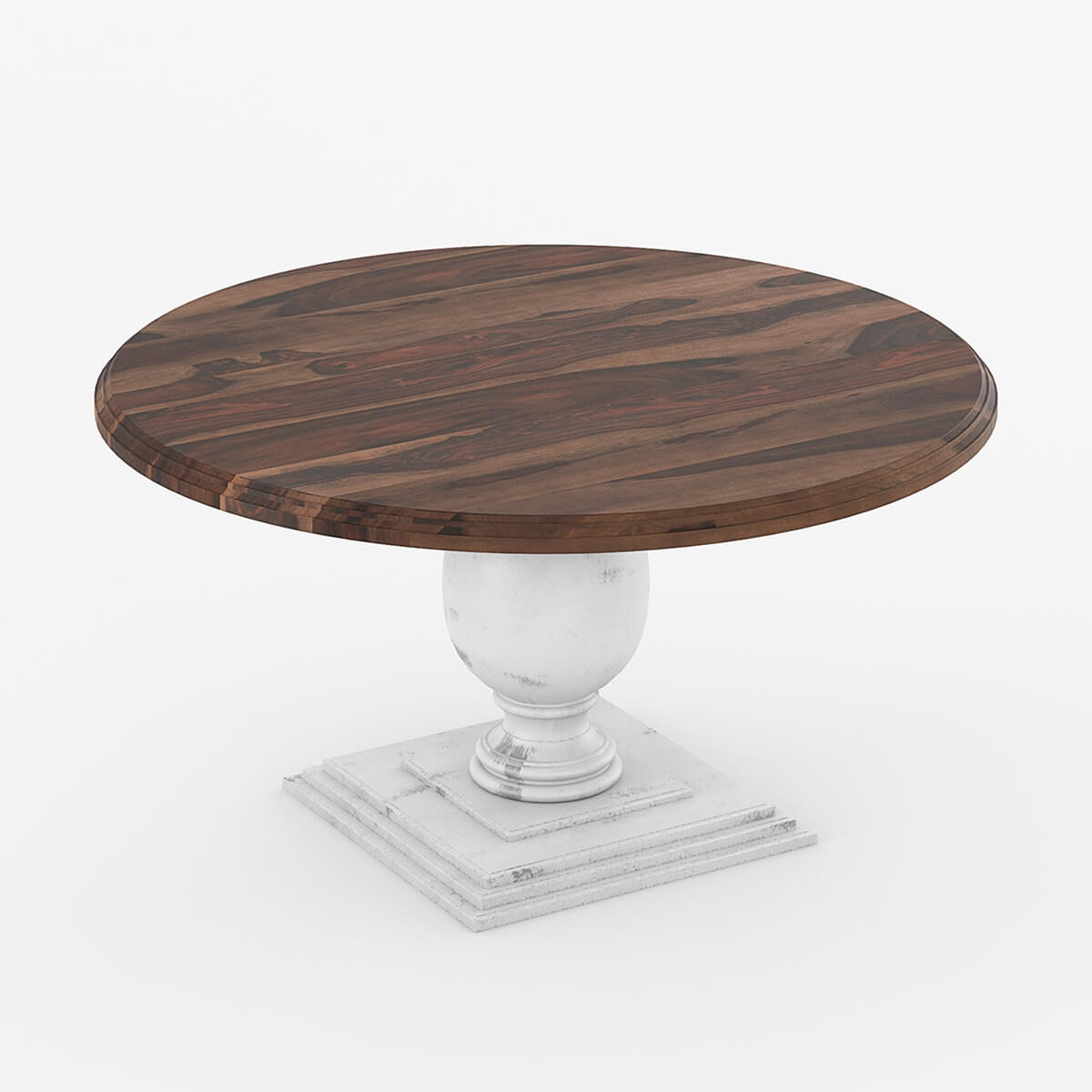 72 Solid Wood Large Pedestal Round Dining Table