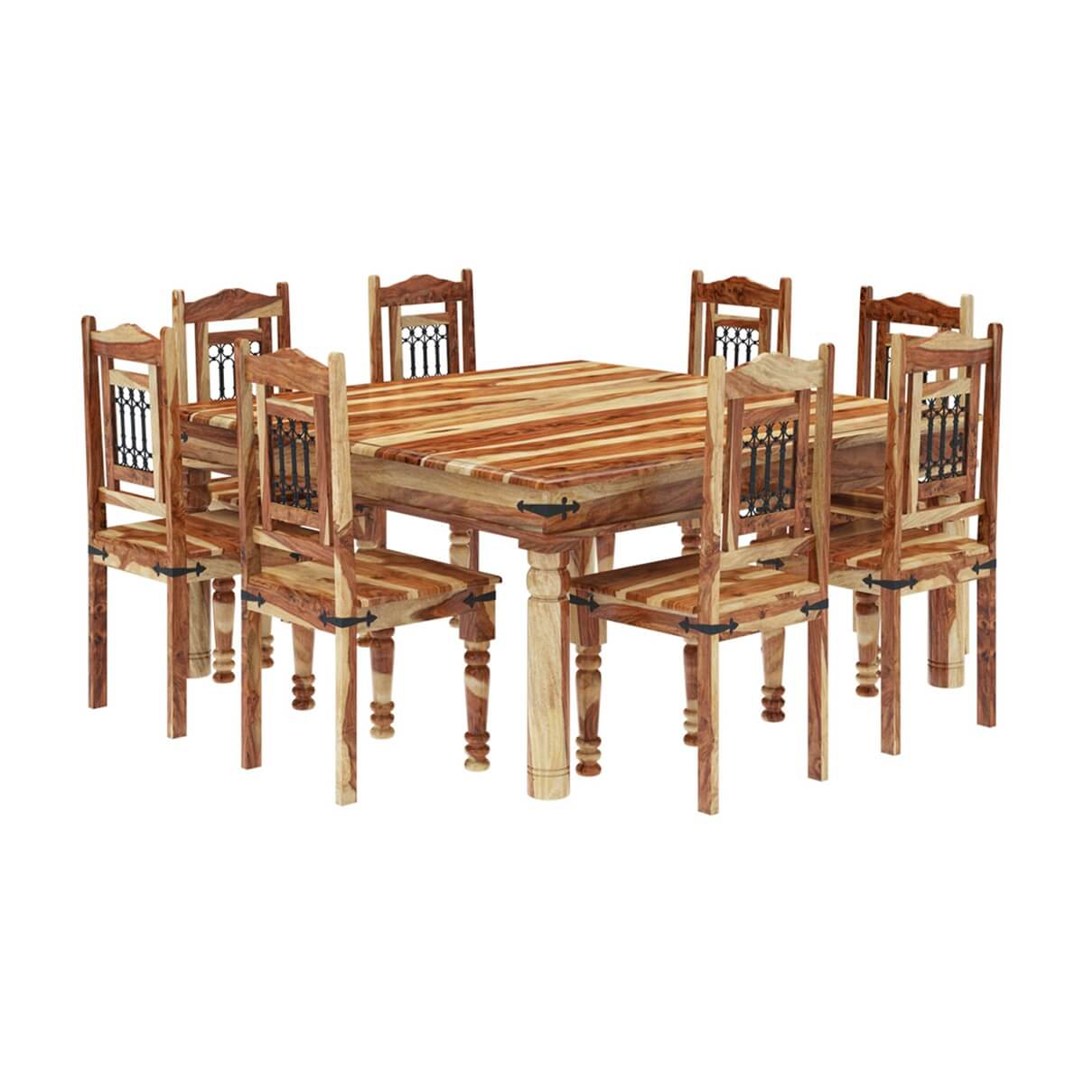 Peoria Solid Wood Large Square Dining Table Chair Set