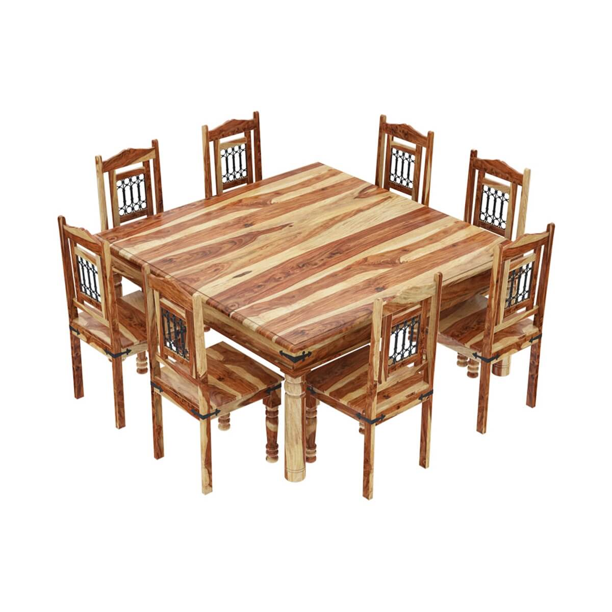 8 Person Square Dining Table: Peoria Solid Wood Large Square Dining Table & Chair Set For 8 People