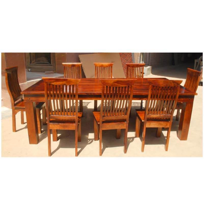 Mediterranean Style Dining Room Sets: Mediterranean Eco 9 Pc Transitional Dining Table & Chair Set