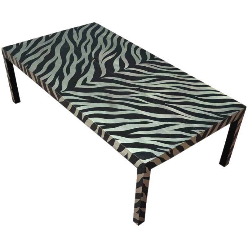 German Silver Acid Cut Zebra Striped Coffee Table