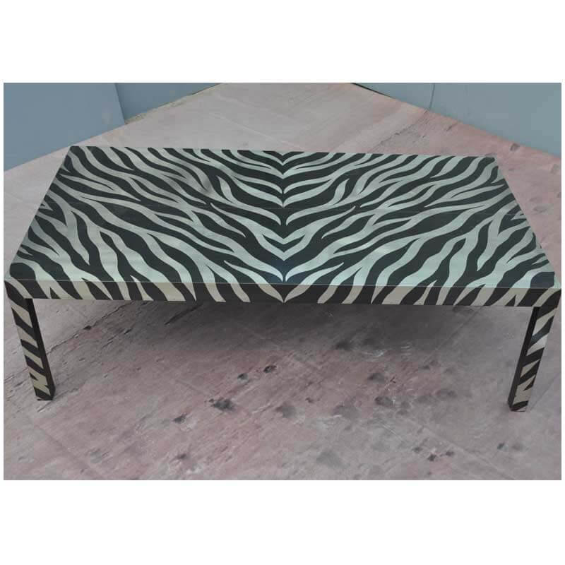 Artisan Collection German Silver Acid Cut Zebra Striped Coffee Table