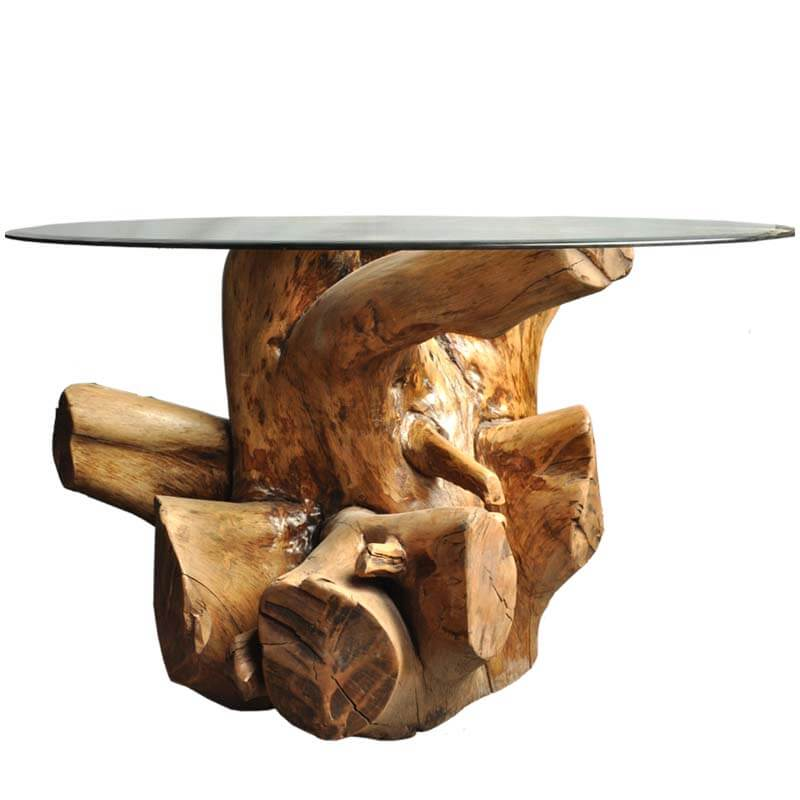 Coffee Table Made Out Of Tree: Natural Tree Stump Coffee Table With Round Glass Table Top