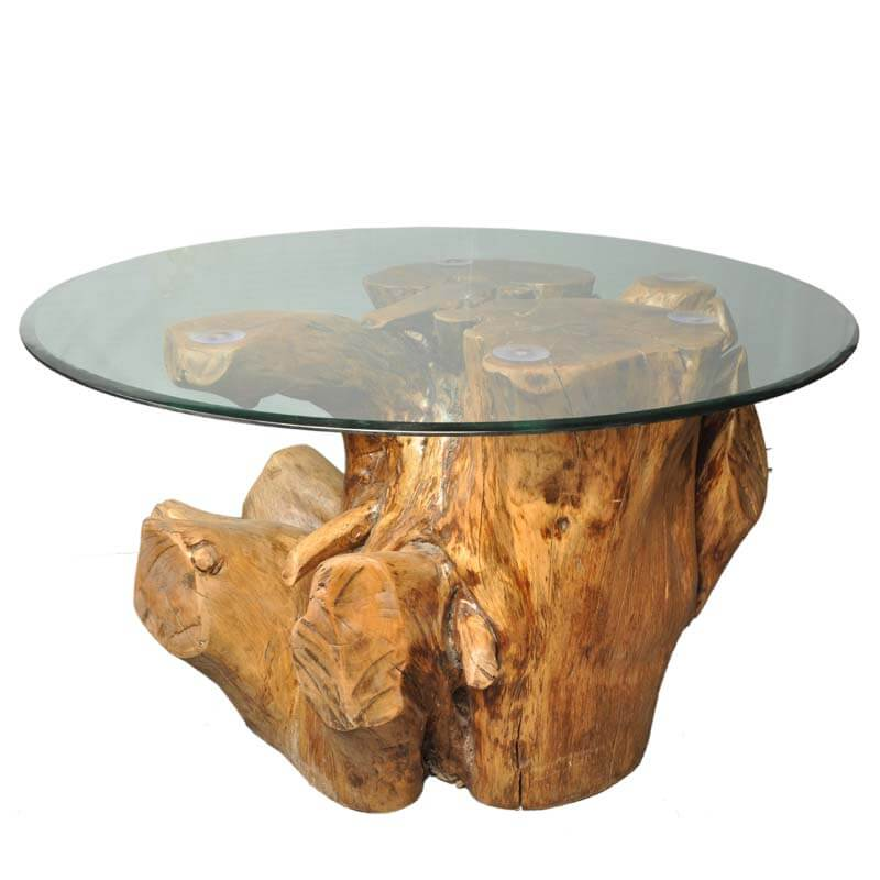 Natural Tree Stump Coffee Table With Round Glass Table Top
