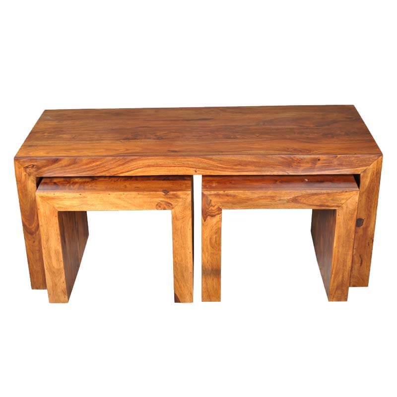 Santa Fe 3 Sided Coffee Accent Tables 3pc Set
