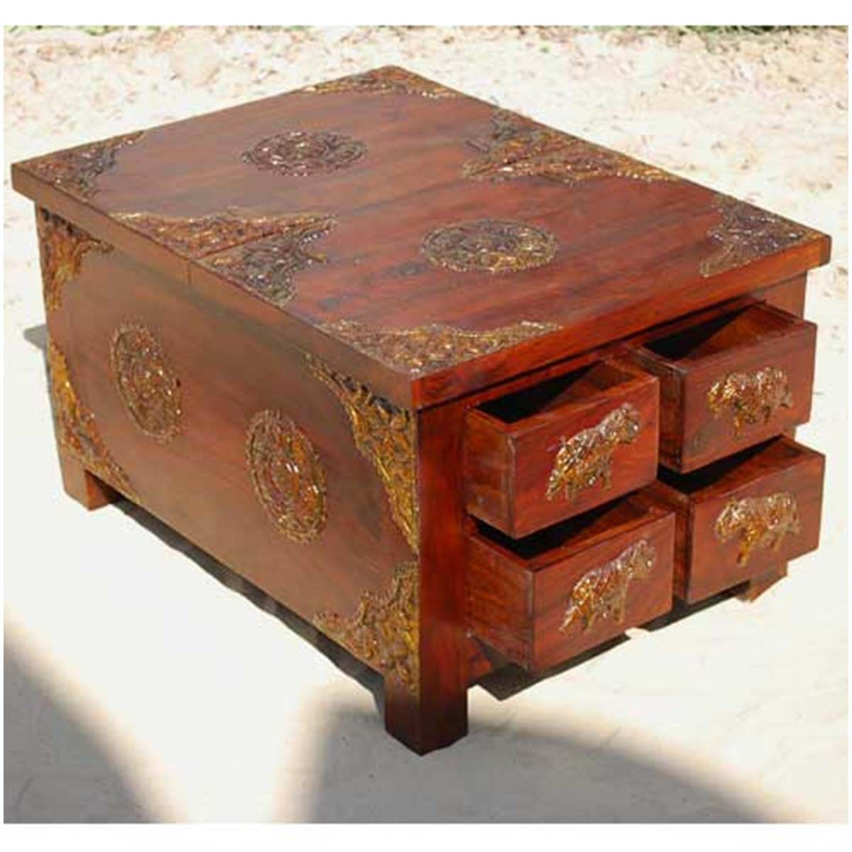 Buy Coffee Table With Drawers: Rustic Wood 4 Storage Drawers Brass Accent Coffee Table