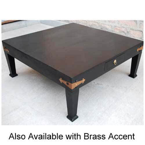 Wood Large Sofa Cocktail Black Square Coffee Table New