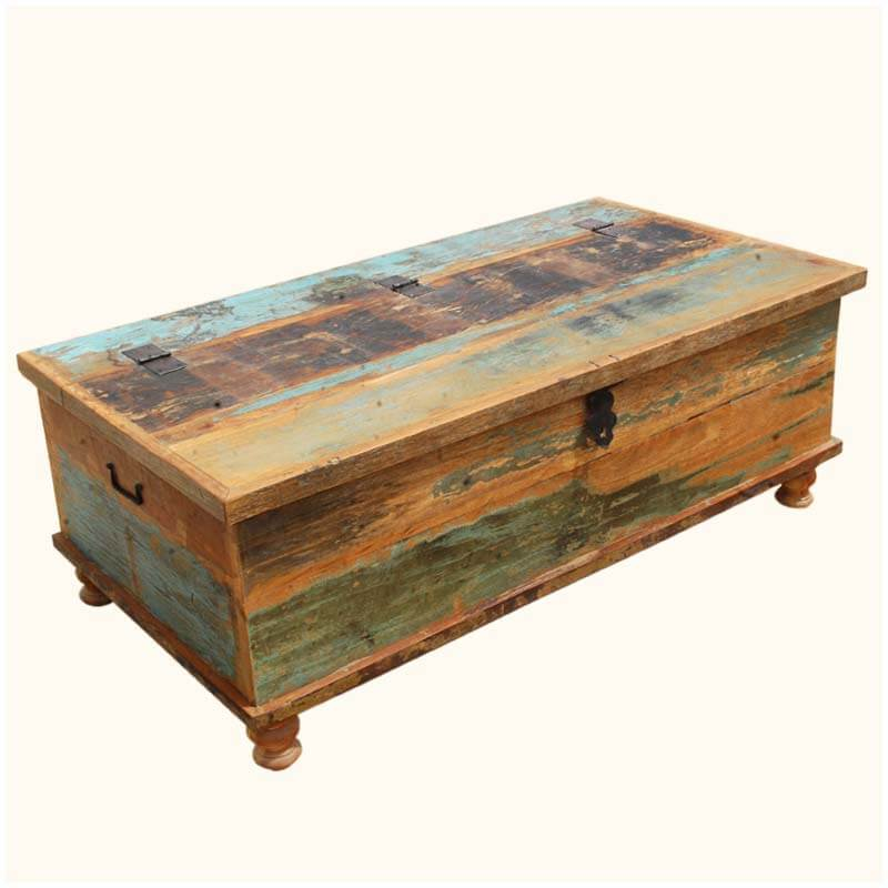 Oklahoma Farmhouse Reclaimed Wood Distressed Coffee Table Storage Box