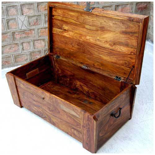 Solid Wood Wooden Storage Trunk Chest Box Coffee Table