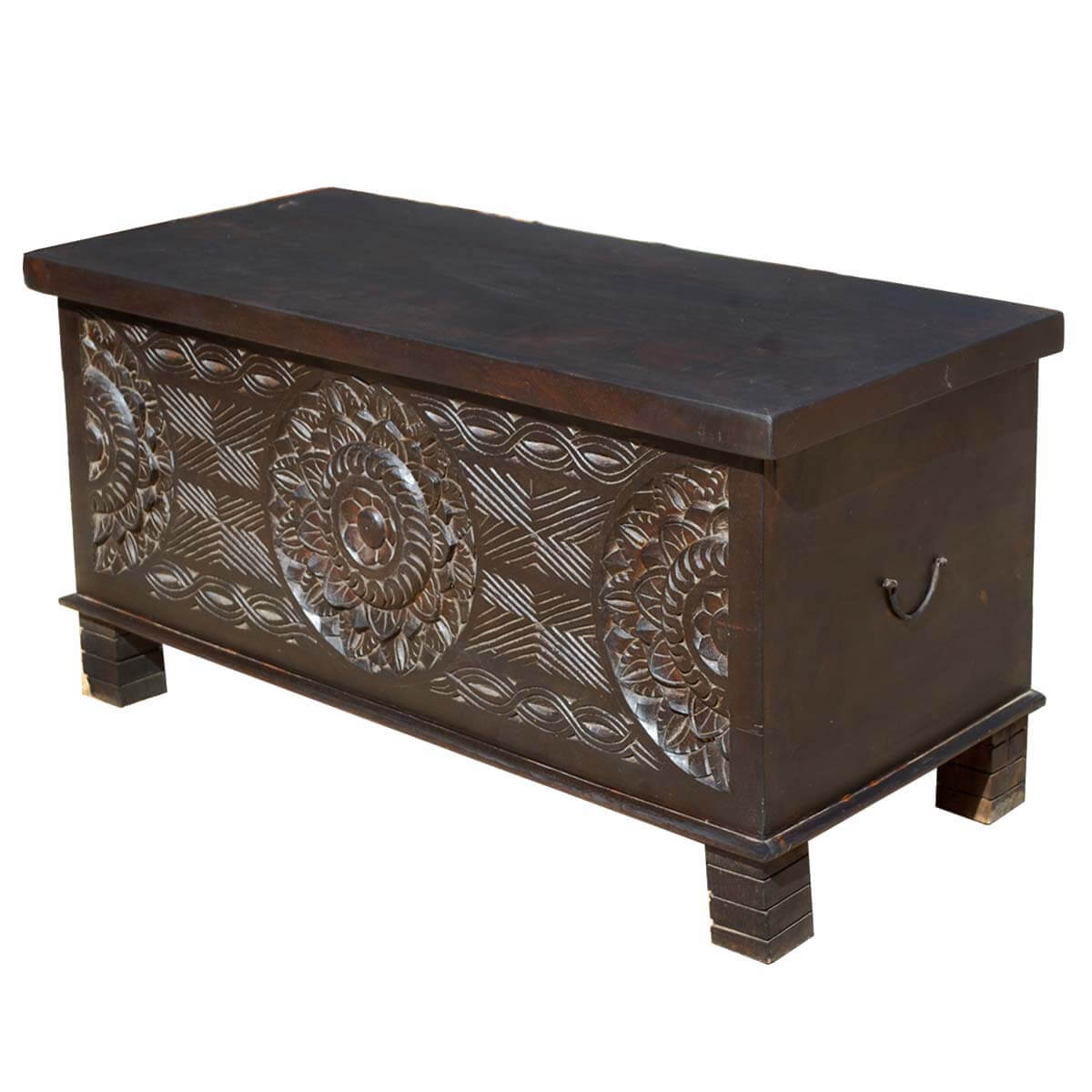 Langley Solid Wood Elevated Hand Carved Trunk Coffee Table
