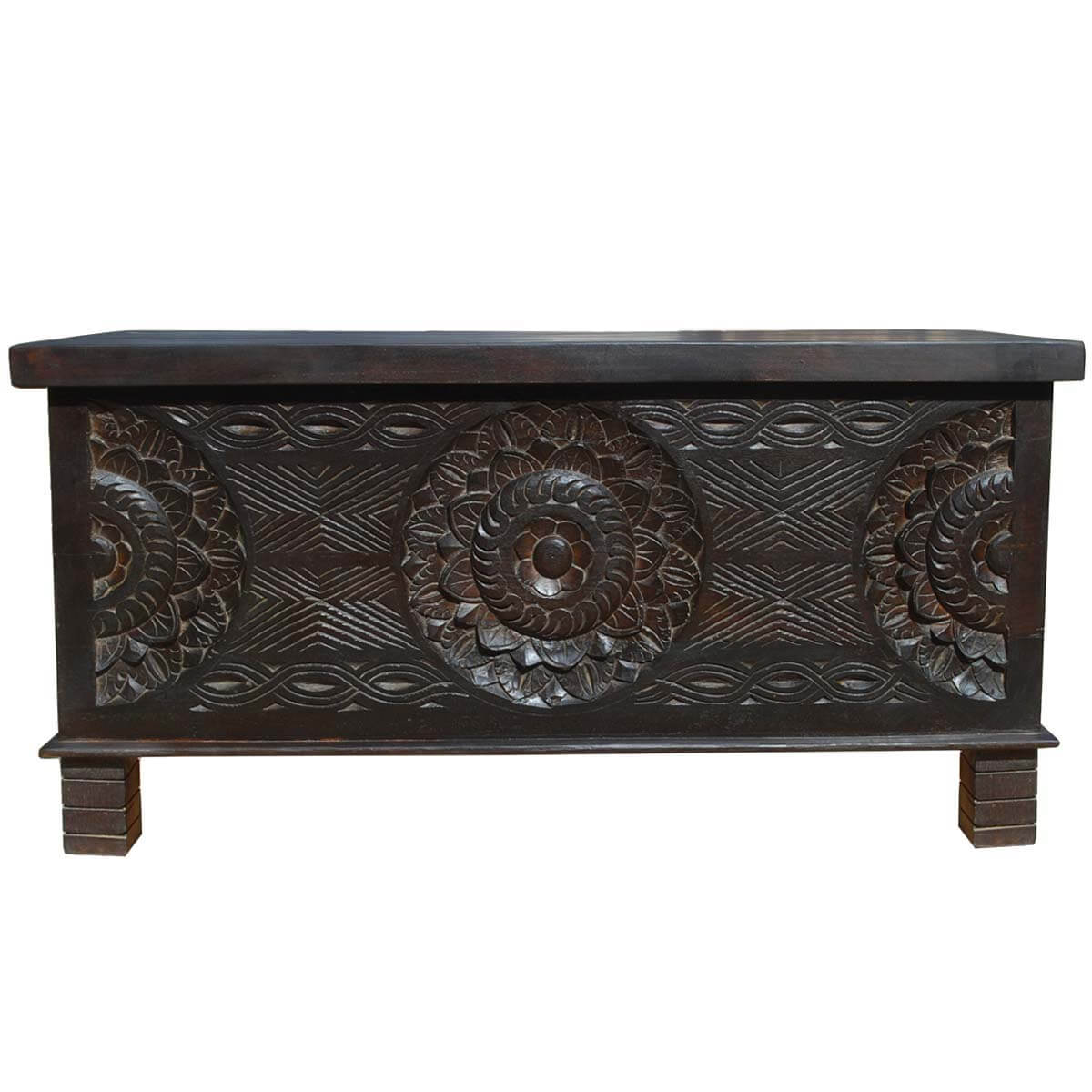 Langley solid wood elevated hand carved trunk coffee table Carved coffee table
