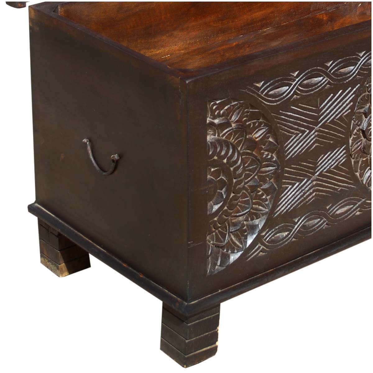 chests langley solid wood elevated hand carved trunk coffee table