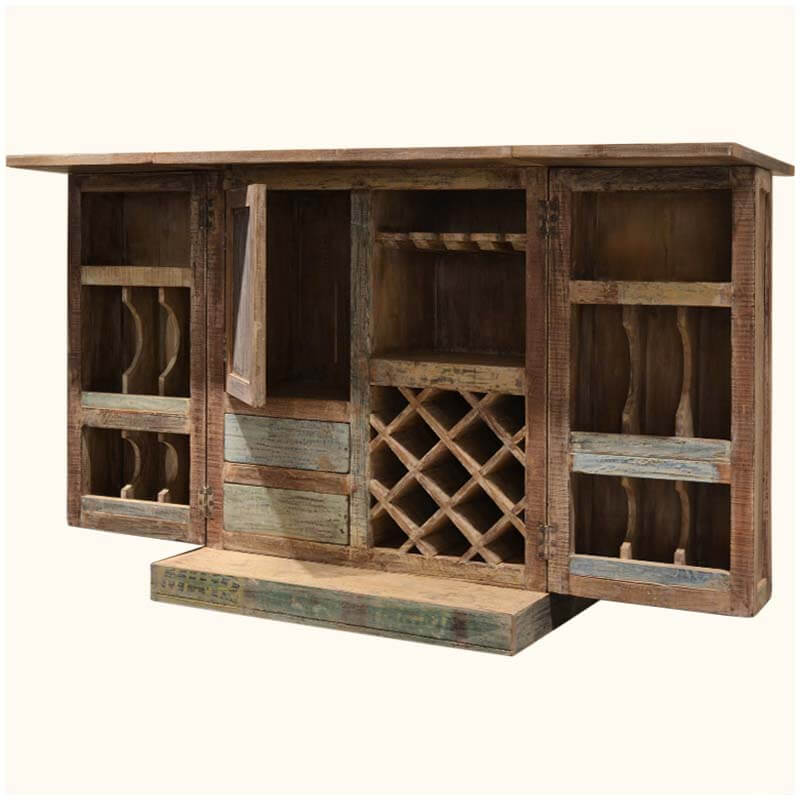 Wood Wine Bar ~ Rustic reclaimed wood expandable wine liquor bar cabinet
