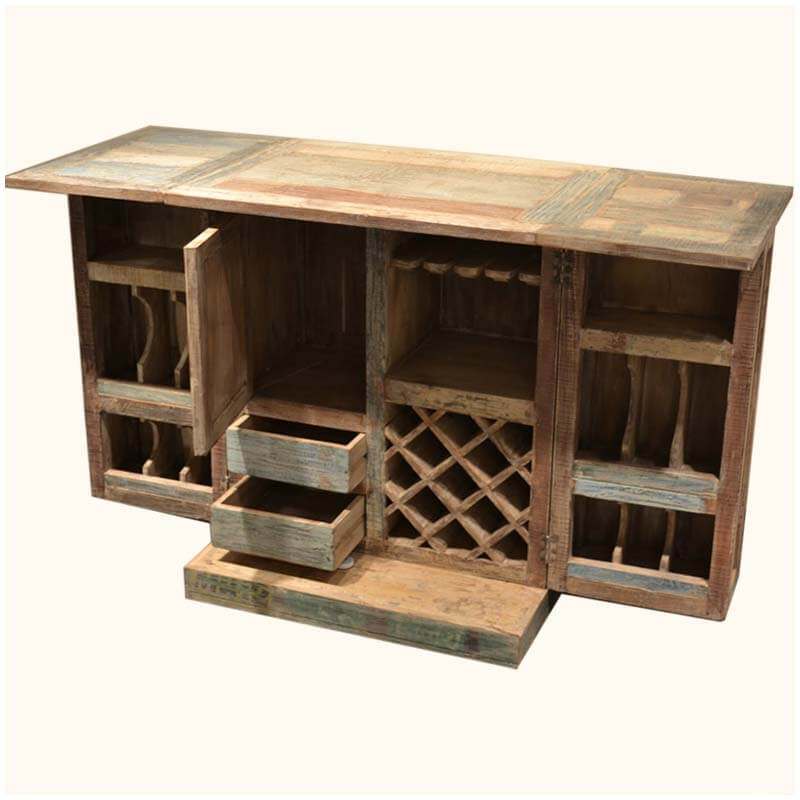 Rustic Reclaimed Wood Expandable Wine Liquor Bar Cabinet Glass Holder