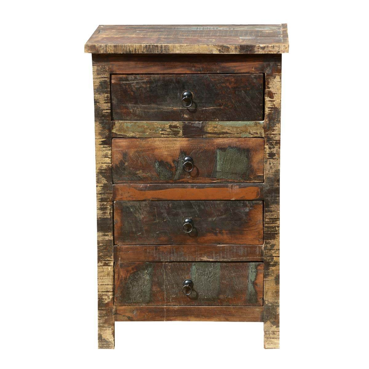 Appalachian Rustic Distressed Reclaimed Wood 4 Drawer Nightstand - Distressed Dining Room Table