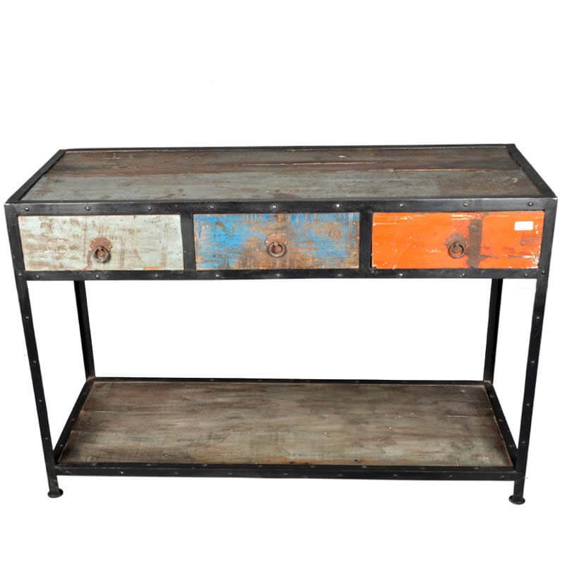 Stoneford Reclaimed Wood 3 Drawer Industrial Hall Console