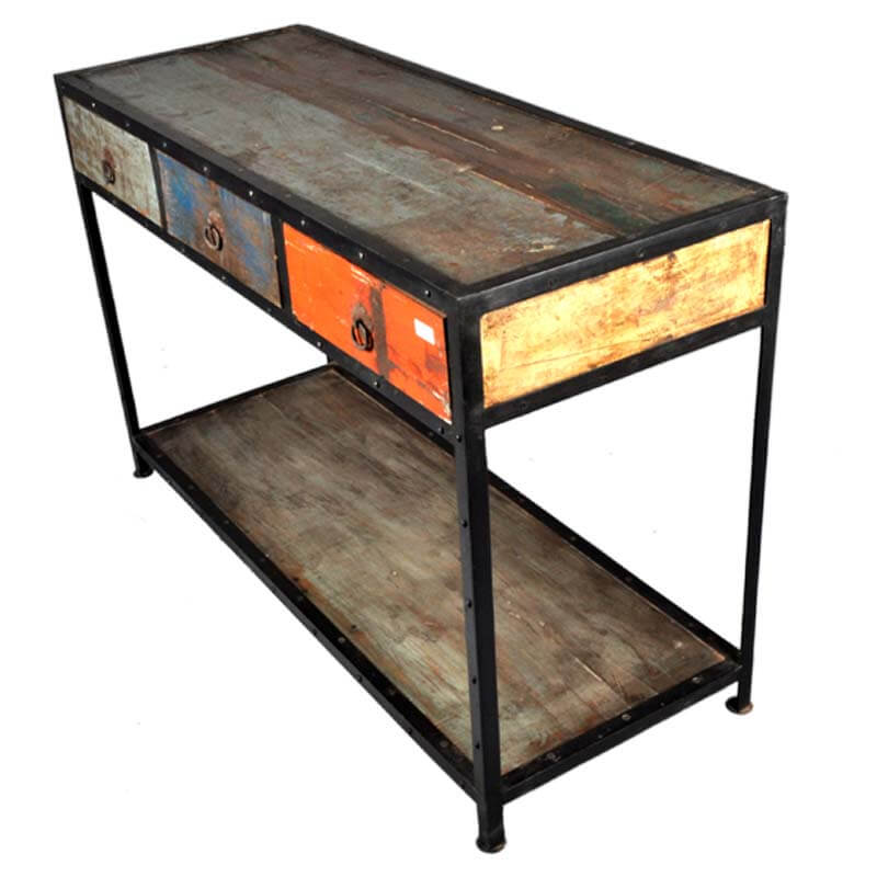 Reclaimed Wood Console Table With Drawer ~ Stoneford reclaimed wood drawer industrial hall console
