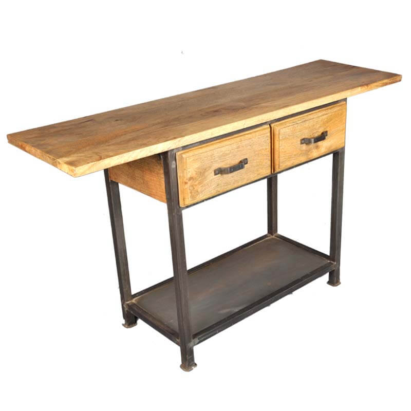 Industrial Iron & Mango Wood 2 Drawer Work Console Table