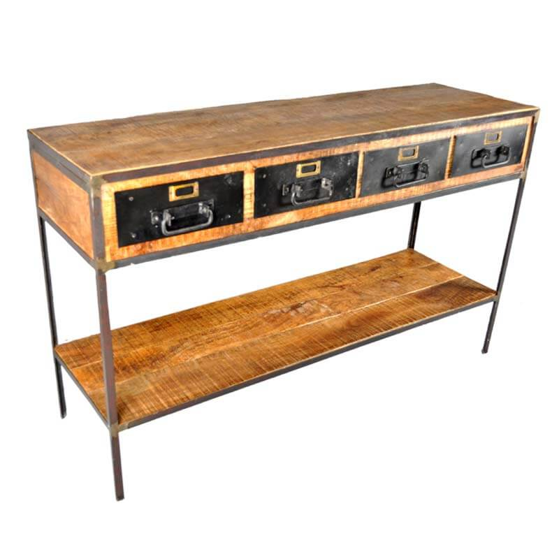 Industrial Mango And Iron 4 Drawer 2 Tier Console Table