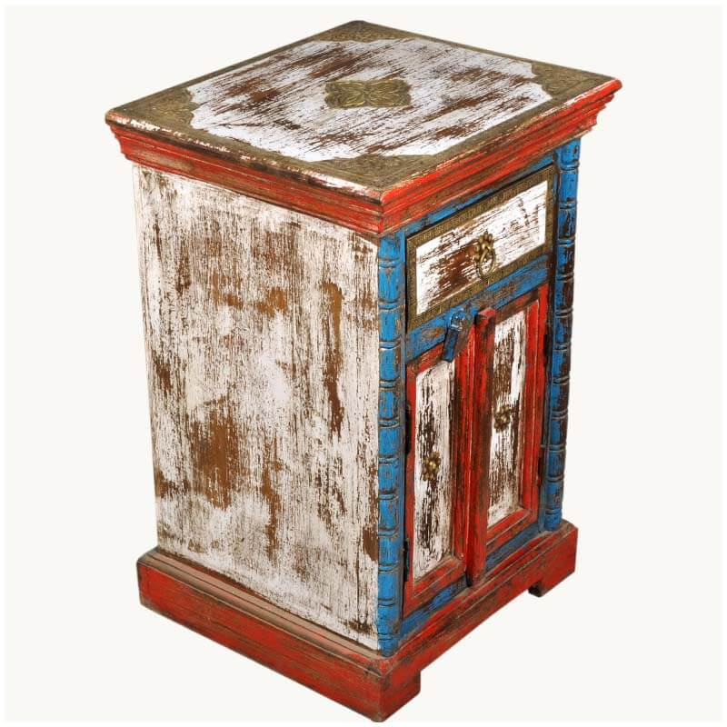 New Delhi Distressed Hand Painted Blue Amp Red Night Stand