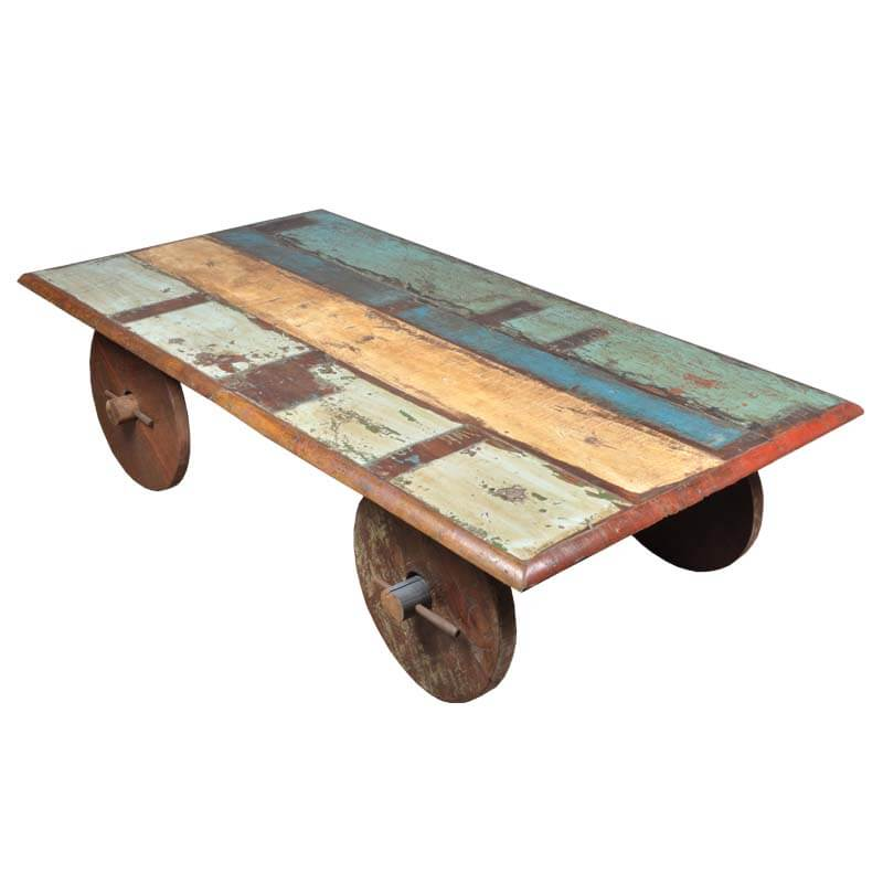 Reclaimed Wood Multi Color Toy Cart Coffee Table