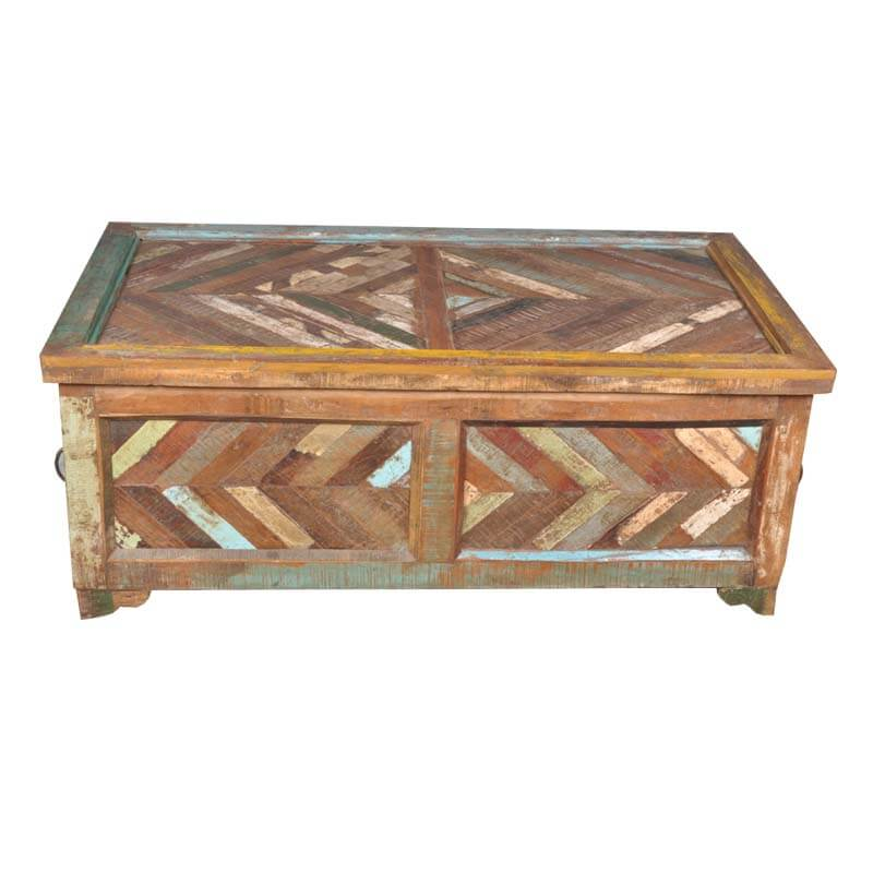 Santa Fe Parquet Tropical Hardwood Coffee Table Storage Box
