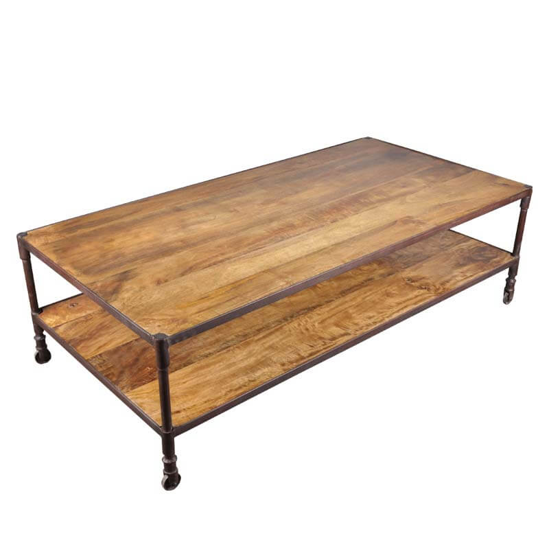 Industrial Iron Mango Wood 60 39 39 Long 2 Tier Coffee Table