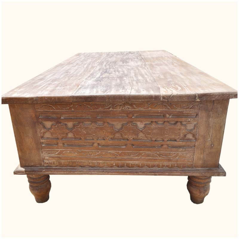 Portland Distressed Hand Carved Tropical Wood Coffee Table