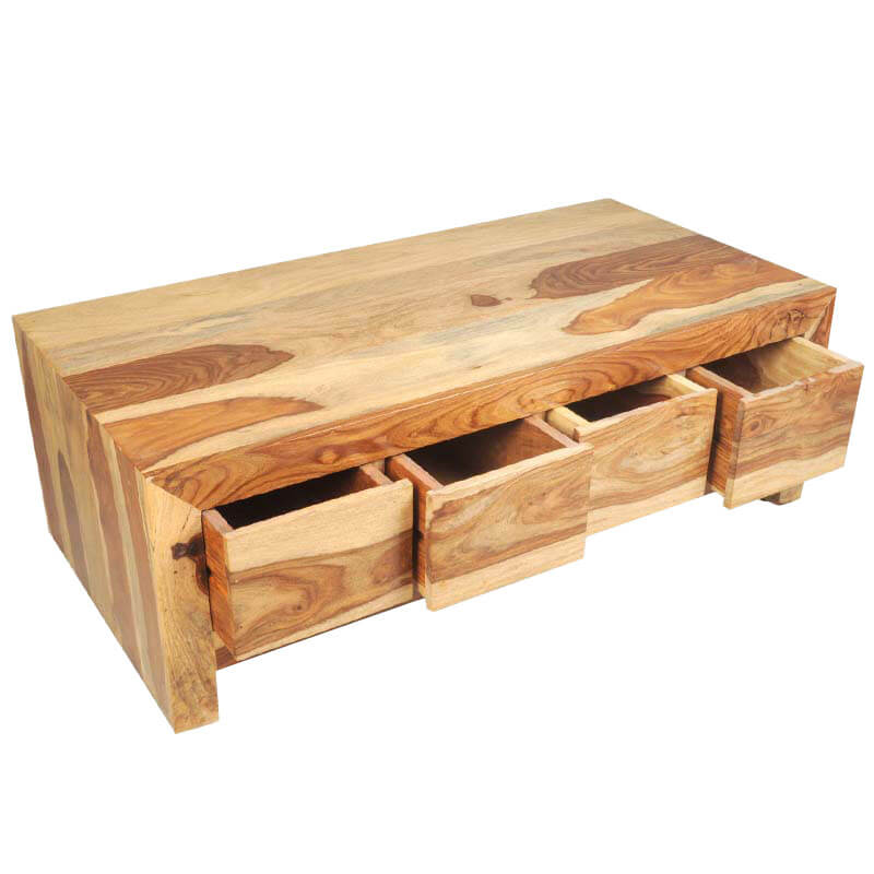 Solid wood contemporary coffee table with storage drawer for Solid wood coffee table
