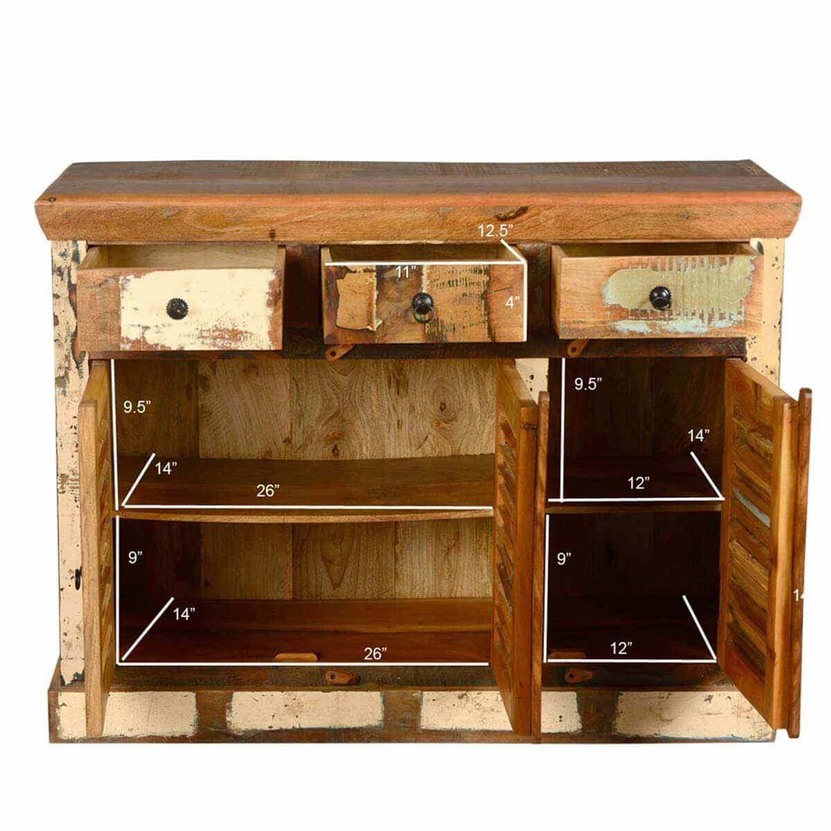 Ordway rustic reclaimed wood door drawer sideboard cabinet