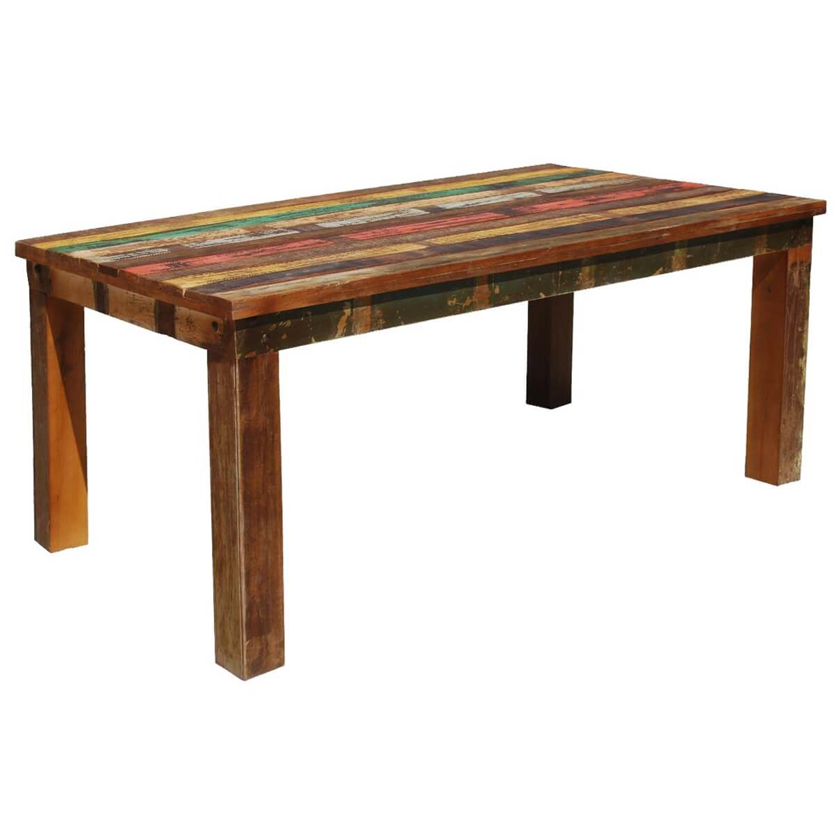 Wooden Dinning Table: Appalachian Rustic Reclaimed Wood Striped Dining Table