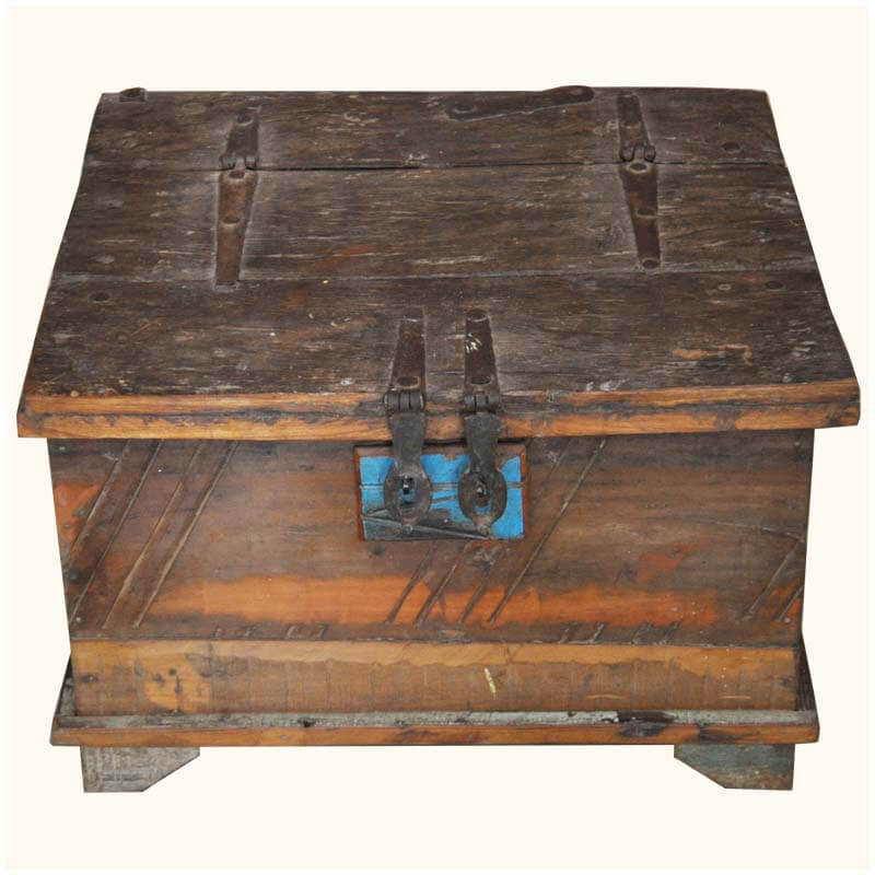Home Appalachian Rustic Mango Old Wood Square Accent Table Chest