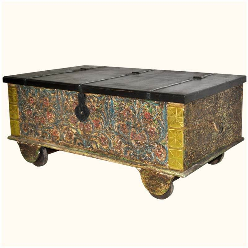 Taj Mahal Hand Craved Old Wood Rolling Coffee Table Trunk