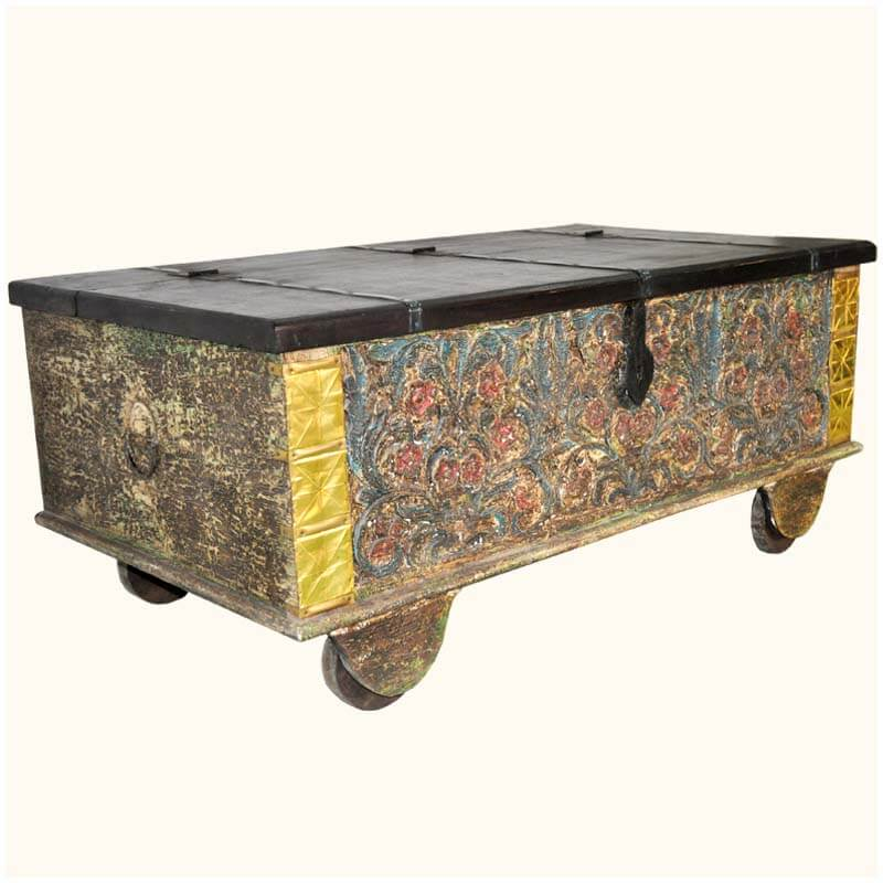 Rolling Coffee Table With Storage: Taj Mahal Hand Craved Old Wood Rolling Coffee Table Trunk