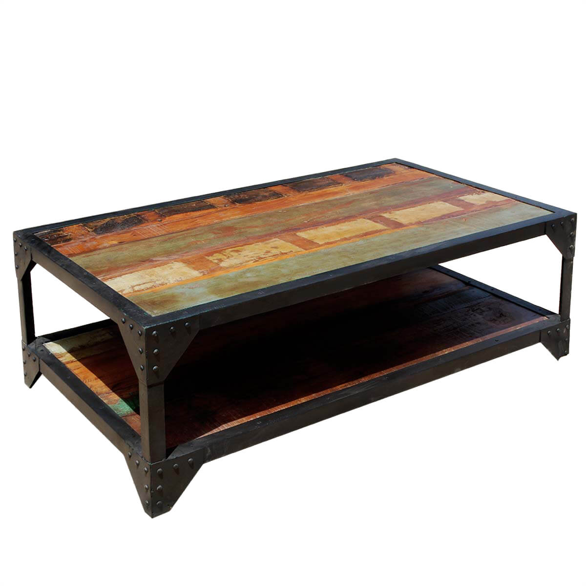 Industrial wrought iron reclaimed wood 2 tier coffee table for Coffee tables industrial